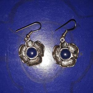 Blue and gold flower earrings